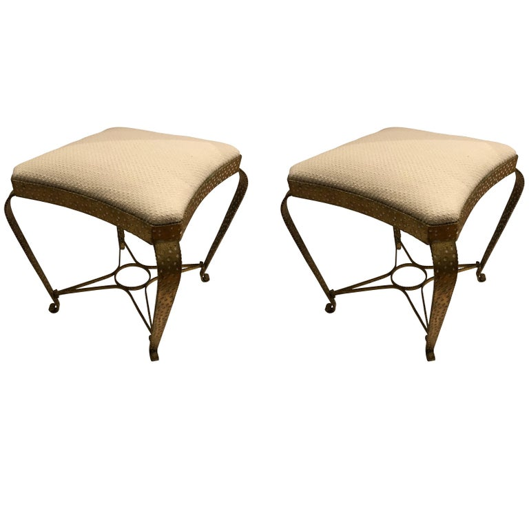 Pair of Hammered Gold Gilt Metal Foot Stools, Italian, 1950s For Sale