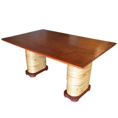 Midcentury Rattan and Double Mahogany Dining Table with Stacked Base
