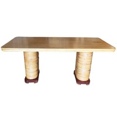 Midcentury Six Person Rattan and Mahogany Dining Table with Stacked Base