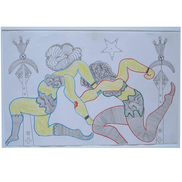 Lewis Smith Drawing of Athletic Dancers For Sale