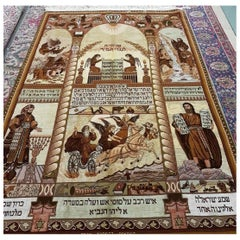 Ten Commandments, Hand-Knotted Tabriz Wall Carpet with High Silk Content