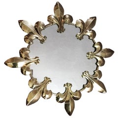 Mid-20th Century Round Wall Mirror Sunburst Fleur-de-Lys, 1970s, France