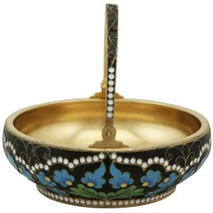 1970s Russian Silver Gilt and Polychrome Cloisonne Enamel Sugar Basket