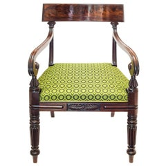 English 19th Century Regency Period Gillows Style Mahogany Desk Armchair