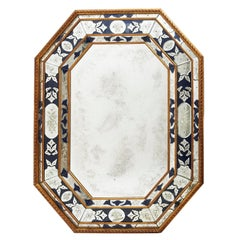 Venetian Octagonal Cushion Mirror with Blue and Etched Glass, 20th Century