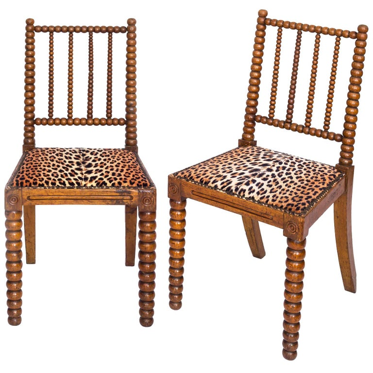 19th Century English Pair of Bobbin Chairs in Colefax and Fowler Leopard Velvet 1