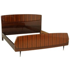 Double Bed Rosewood Veneer Vintage Manufactured in Italy, 1950s-1960s