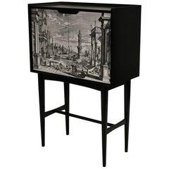 Italian Bar Cabinet with a Venetian Scene