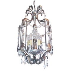 Florentine Chandelier Crystal and Wrought Iron Lantern by BF Art, Italy