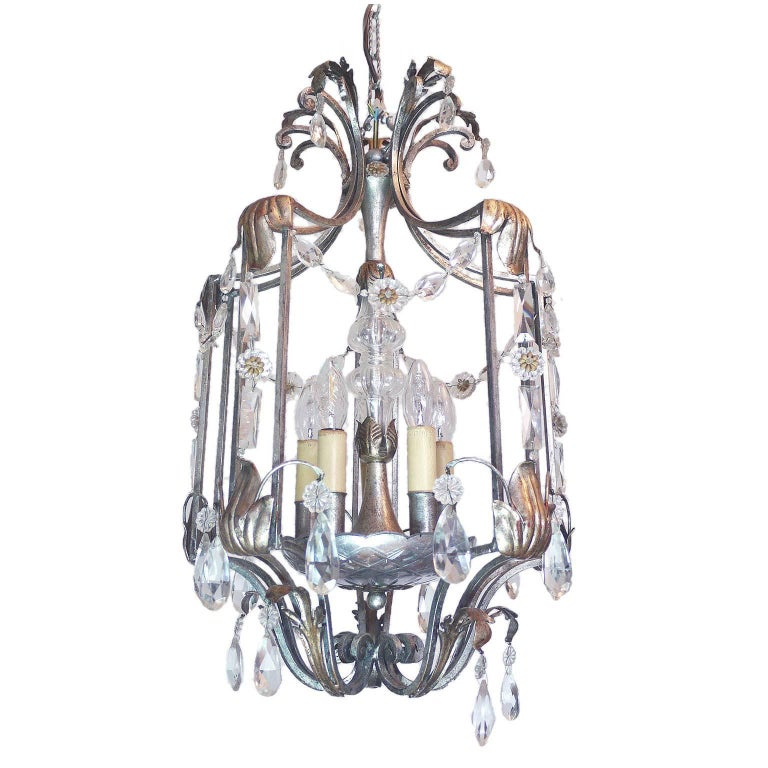 Florentine Chandelier Crystal and Wrought Iron Lantern by BF Art, Italy For Sale