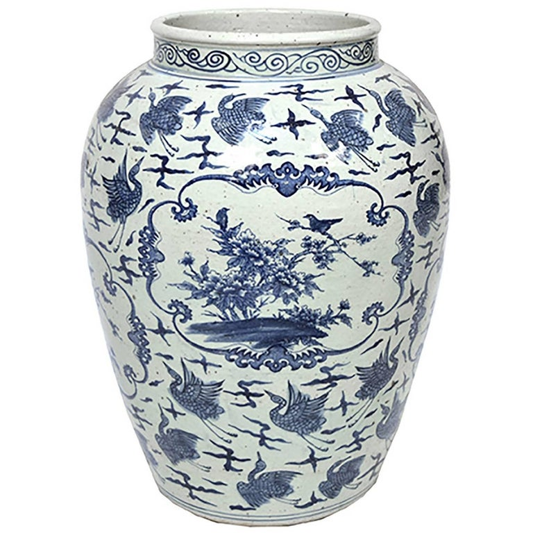Chinese Blue and White Phoenix Jar