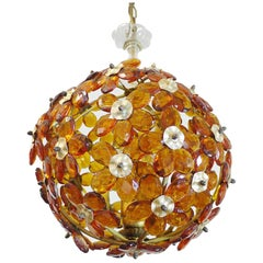 Amber Crystal Glass Flower Globe Chandelier, Italy 1950s