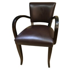 "Art Deco Style Hand-Crafted ""Momero"" Dining Chair in Oak and Leather"
