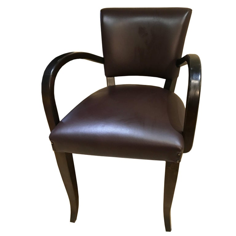 """Art Deco Style Hand-Crafted """"Momero"""" Dining Chair in Oak and Leather"""