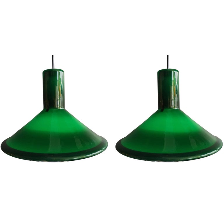 Pair of Danish Midcentury Pendant Lights by Michael Bang for Holmegaard.