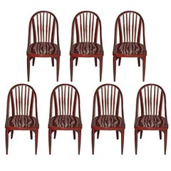 Thonet Bentwood Set Seven Chairs Design by Hoffmann or Prutscher made circa 1925
