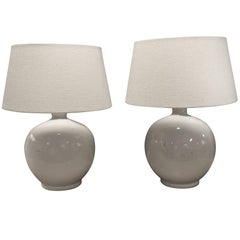 Pair of Round White Lamps, China, Contemporary