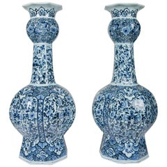 Blue and White Delft Vases Made circa 1850