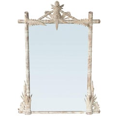 Large Faux Bamboo Mirror with Pineapple, circa 1970