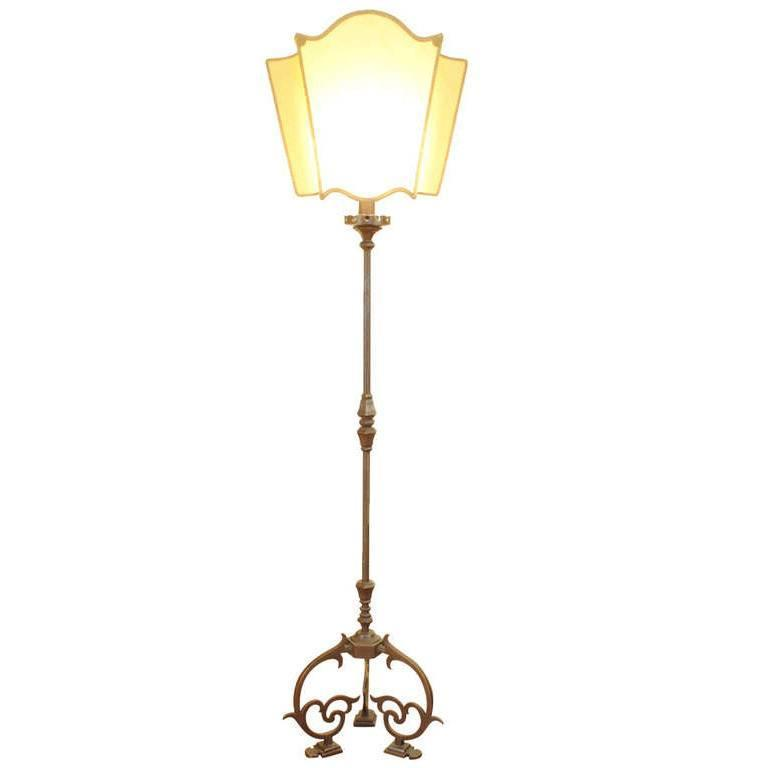Italian Baroque Style Brass Floor lamp with Parchment Shade