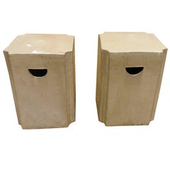 Pair of Square Glazed Terra Cotta Stools, China, Contemporary