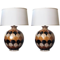 Pair of Italian Handmade Ovoid-Shaped Ceramic Lamps with Imbricating Glaze