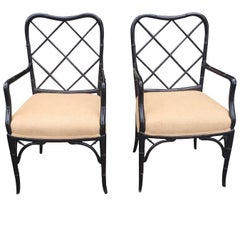 Pair of Faux Bamboo Black Armchairs, circa 1940s-1950s