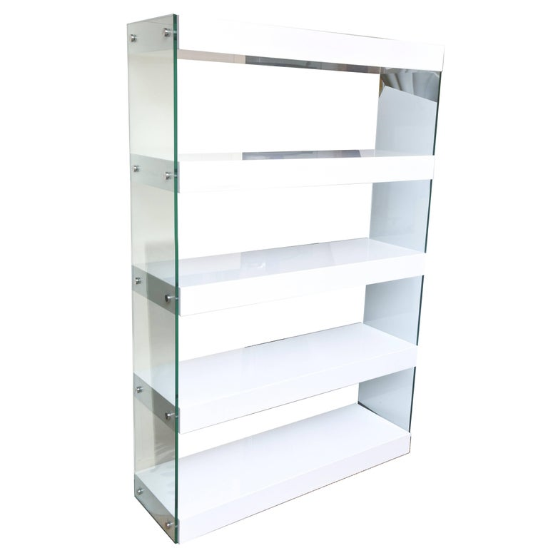 Vintage White Lacquer Wood And Gl Five Tier Shelving Unit For