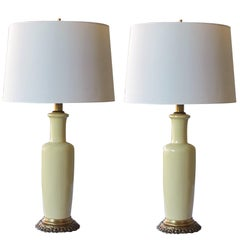 Good Quality Pair of 1960s Chartreuse Glaze Ceramic Lamps by Frederick Cooper
