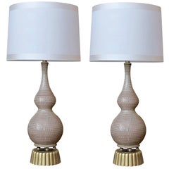 Chic Pair of American Midcentury Gouble-Gourd Form Taupe Glazed Lamps