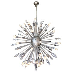 Large Midcentury Style Chrome Multi-Light Sputnik Chandelier
