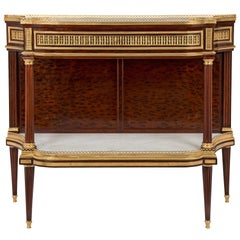 French Louis XVI Style Mid-19th Century Moucheté Mahogany and Ormolu Console