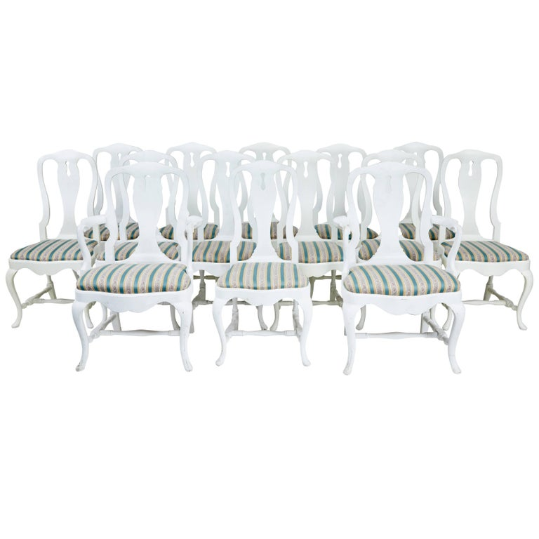 Set of 14 1920s Queen Anne Design Dining Chairs For Sale