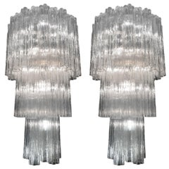 Amazing Pair of Tronchi Chandelier by Toni Zuccheri for Venini, 1960s