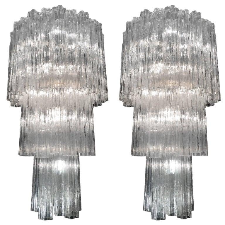 Amazing Pair of Tronchi Murano Glass Chandelier by Toni Zuccheri x Venini 1960s