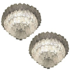 Spectacular Pair of Murano Chandeliers by Toni Zuccheri for Venini, 1960s