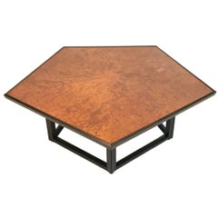 Sculptural Burled Elm, Mahogany, and Rosewood Pentagon Table by Dunbar