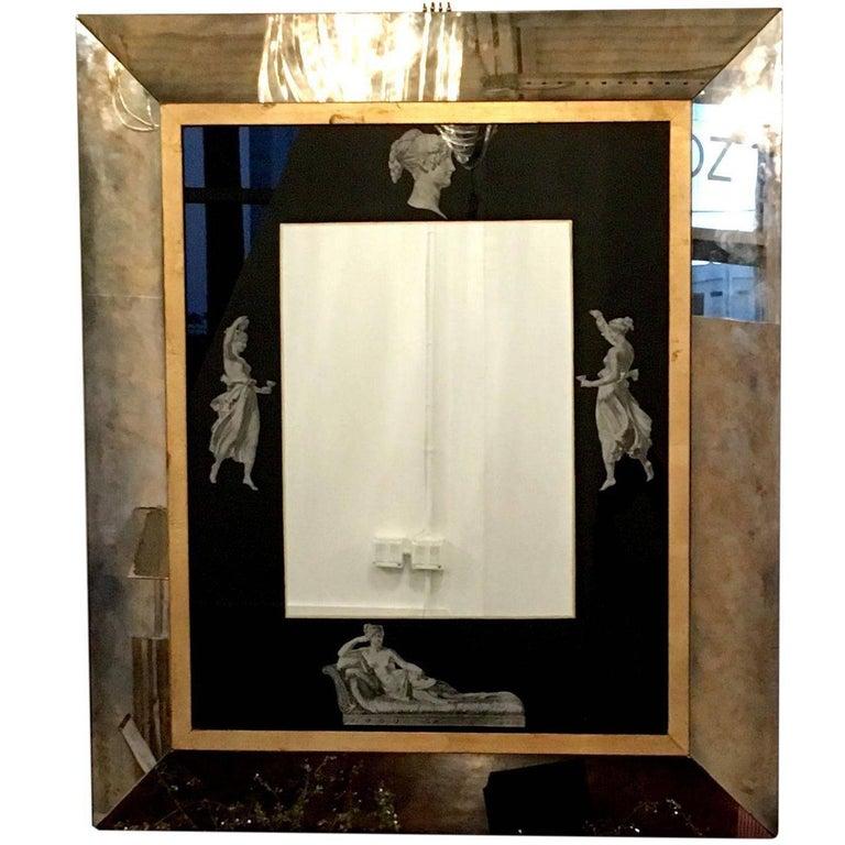 Fornasetti Style Italian Mid-Century Modern Greek Revival Antiqued Mirror