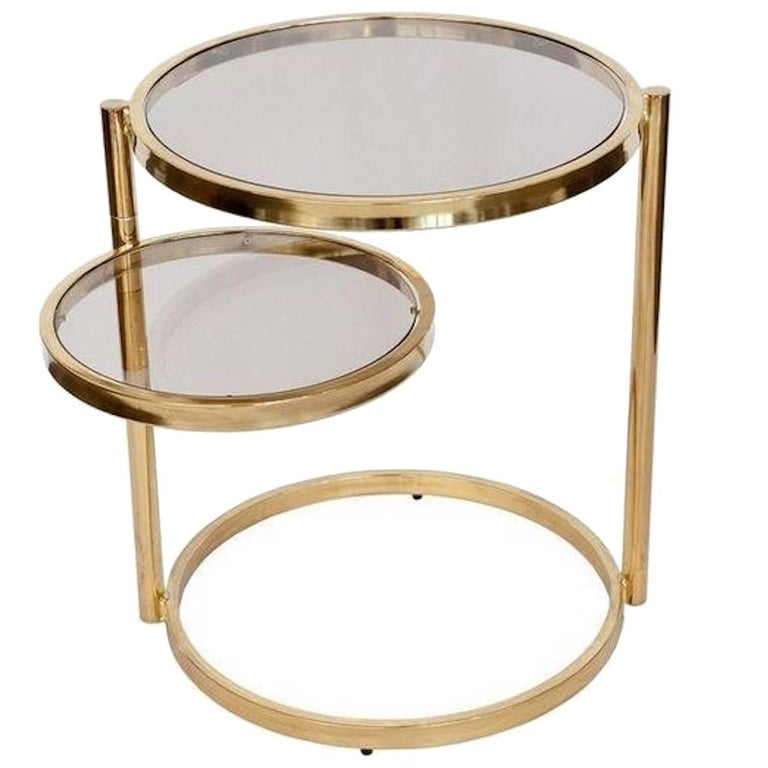 'DIA' Design Institute of America Brass Swivel Ring Table For Sale
