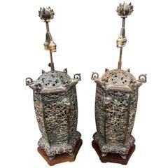Pair of Lamps Oriental Cast Iron, circa 1950s