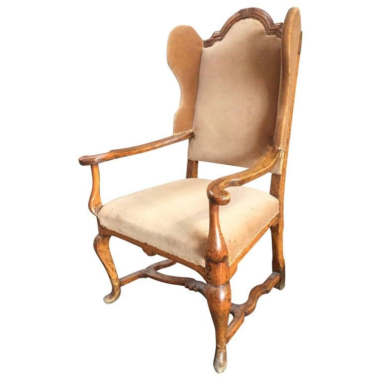 Period Danish Rococo Wing Back Armchair