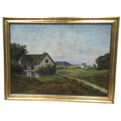 19th Century Painting of a Danish Farm-House