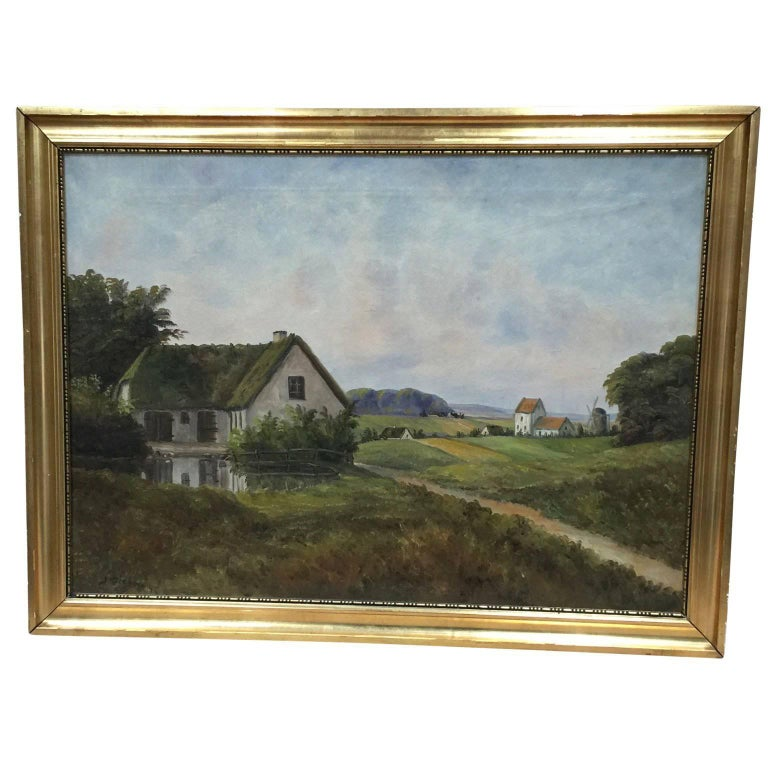 19th Century Painting Of A Danish Farm-House At 1stdibs