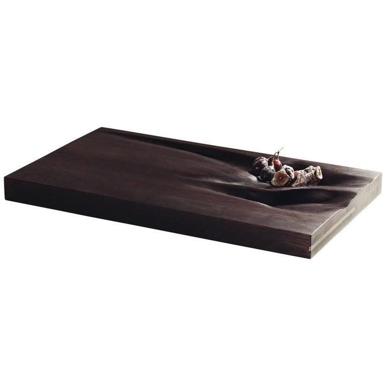 Contemporary Carved Walnut Ebonized Cutting Board with Brass Accent