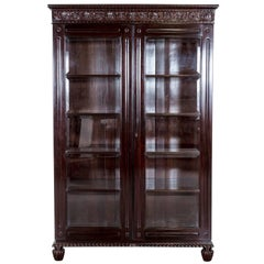 Antique Anglo-Indian or British Colonial Rosewood Library Bookcase