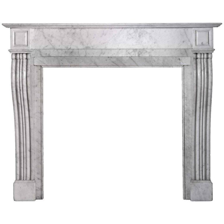 19th Century Louis XVI Style Carrara Marble Mantel