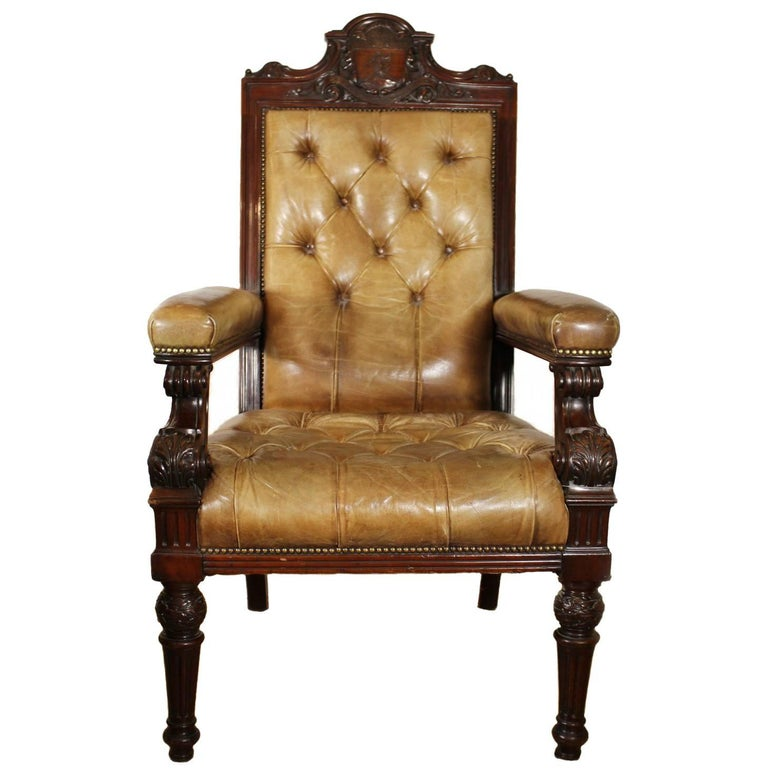ICAEW Gentleman's Chair Walnut and Leather Edwardian