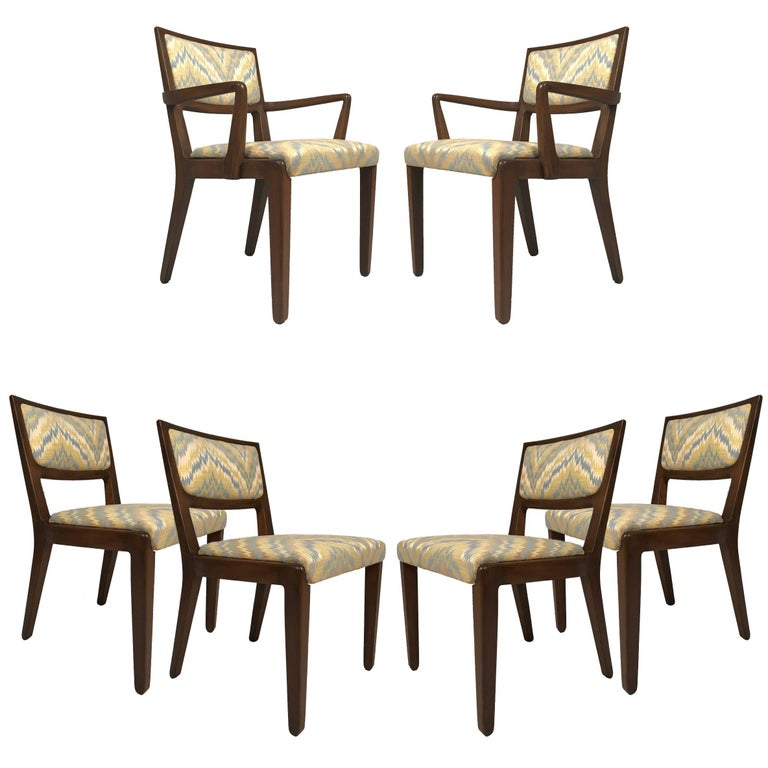Set of Six Edward Wormley for Drexel Dining Chairs with Chevron Upholstery
