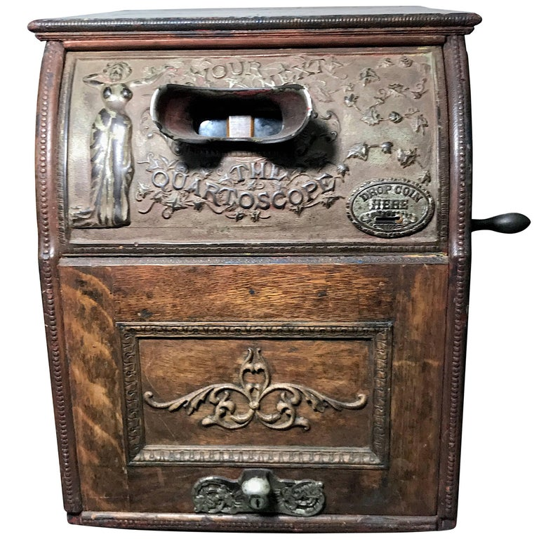 Art Nouveau Mills 5c Quartoscope Coin Op Stereo Viewer Arcade Machine circa 1890 For Sale