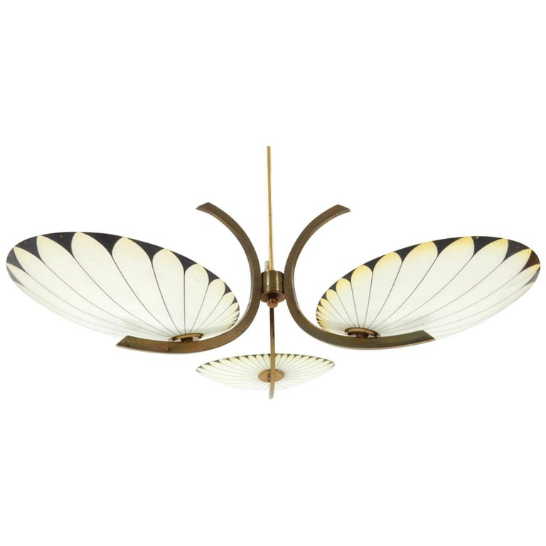 French Art Deco Glass Palm Leaf Chandelier 1